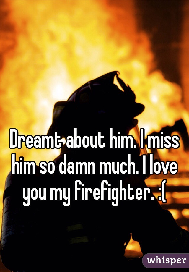 Dreamt about him. I miss him so damn much. I love you my firefighter. :(