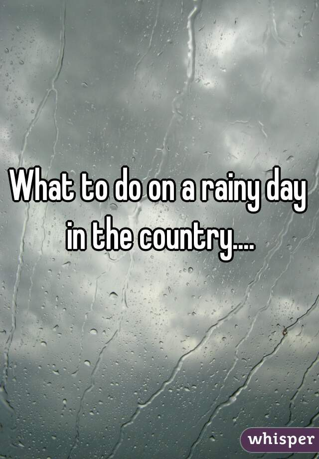 What to do on a rainy day in the country....