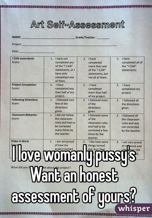 I love womanly pussy's Want an honest assessment of yours?