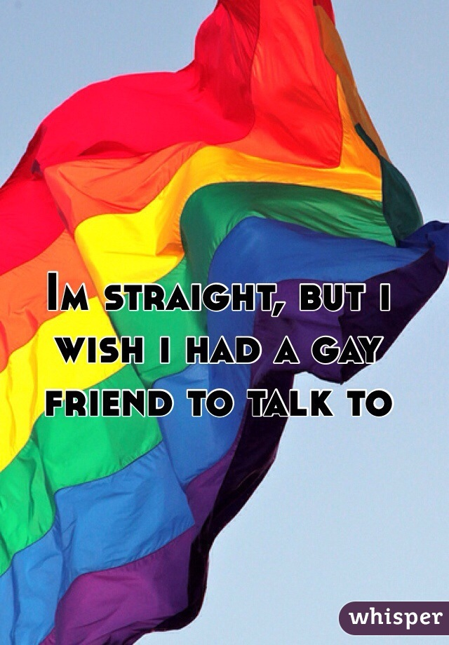 Im straight, but i wish i had a gay friend to talk to