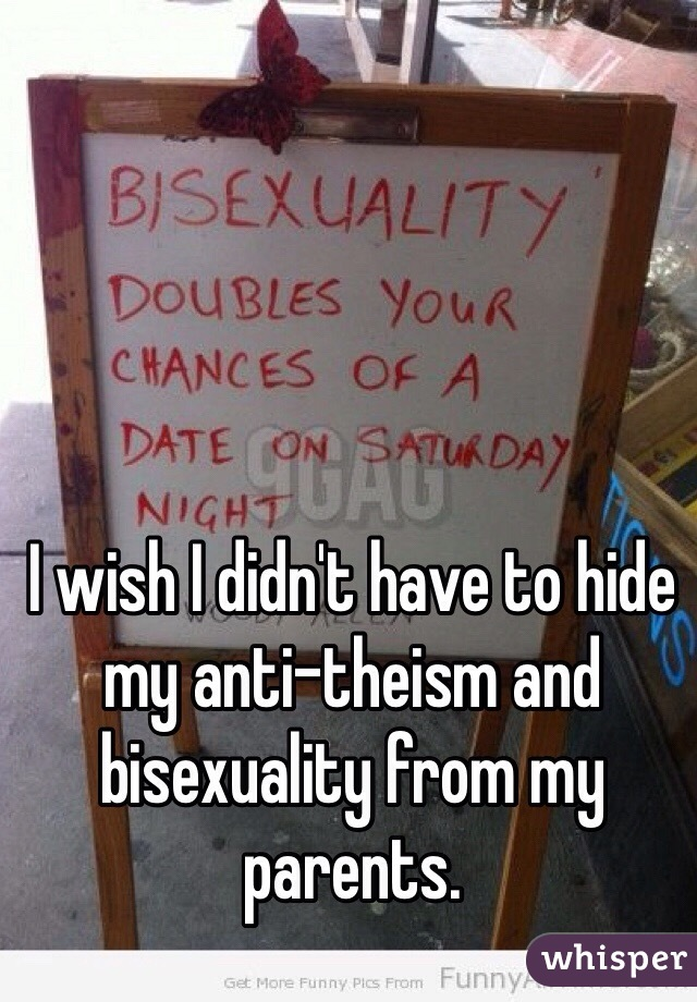 I wish I didn't have to hide my anti-theism and bisexuality from my parents.