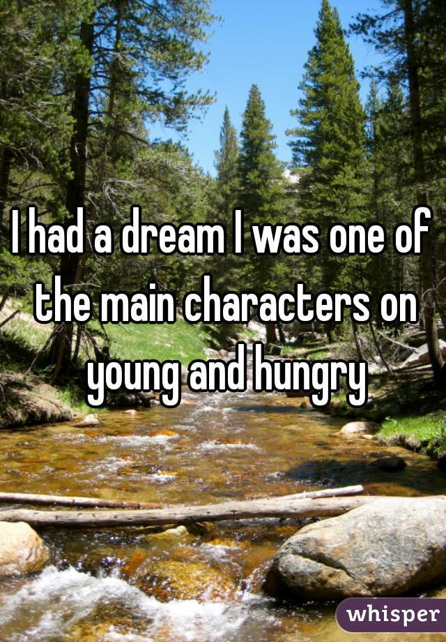 I had a dream I was one of the main characters on young and hungry