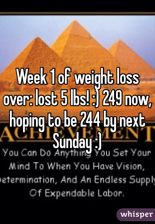 Week 1 of weight loss over: lost 5 lbs! :) 249 now, hoping to be 244 by next Sunday :)