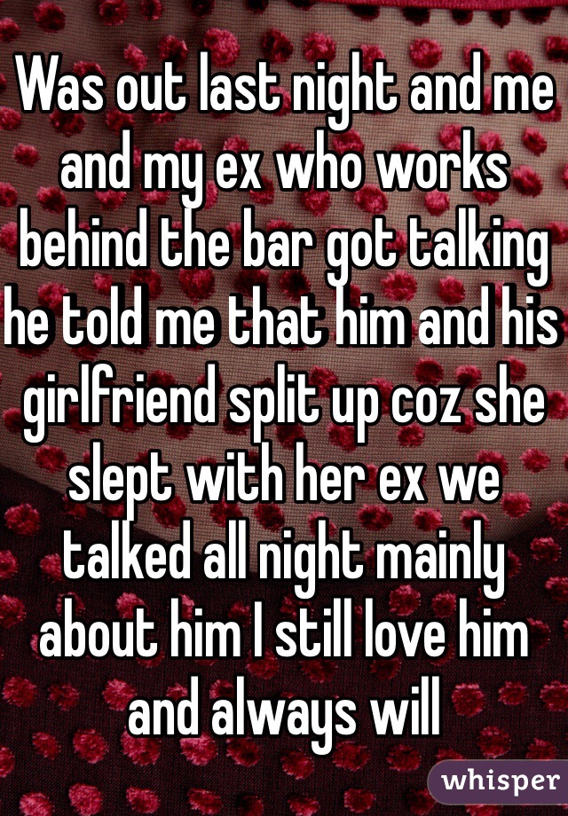 Was out last night and me and my ex who works behind the bar got talking he told me that him and his girlfriend split up coz she slept with her ex we talked all night mainly about him I still love him and always will