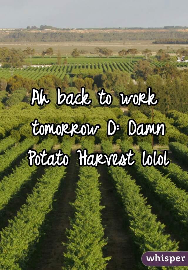 Ah back to work tomorrow D: Damn Potato Harvest lolol