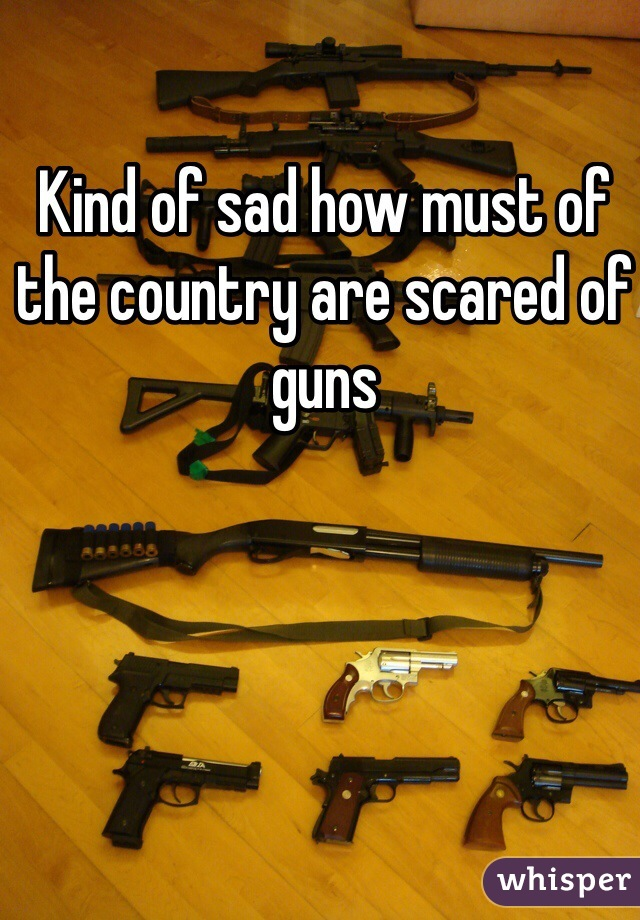 Kind of sad how must of the country are scared of guns