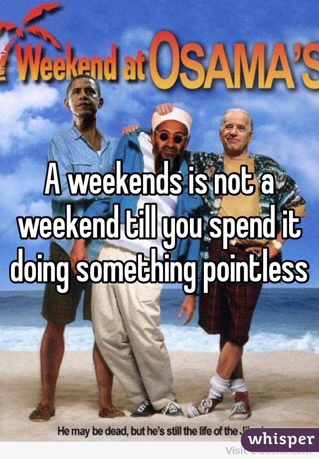 A weekends is not a weekend till you spend it doing something pointless