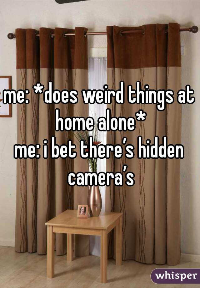me: *does weird things at home alone* me: i bet there's hidden camera's