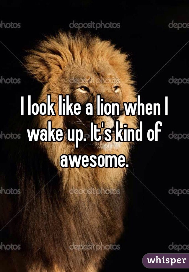 I look like a lion when I wake up. It's kind of awesome.