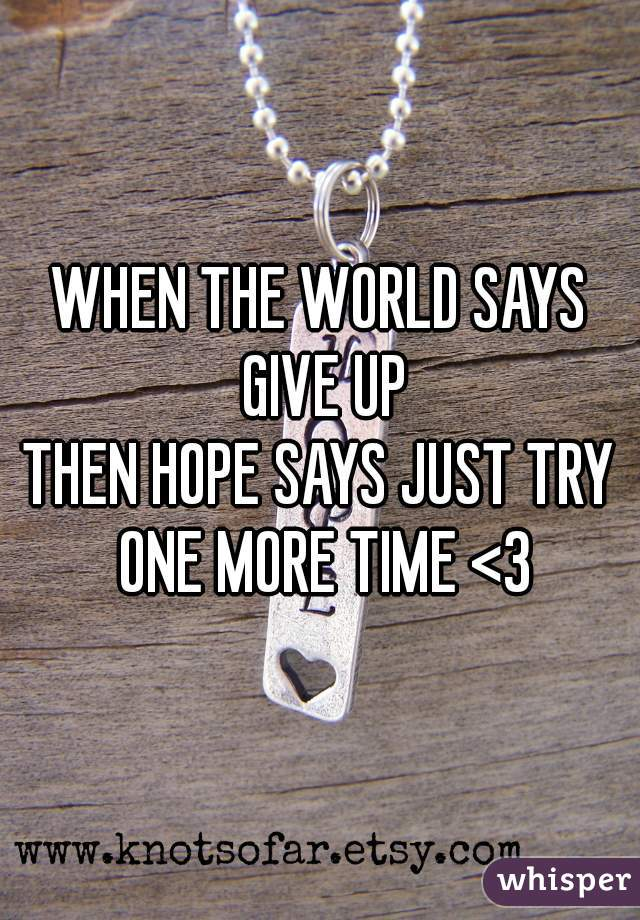 WHEN THE WORLD SAYS GIVE UP THEN HOPE SAYS JUST TRY ONE MORE TIME <3