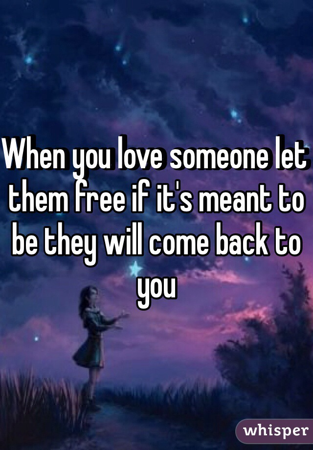 When you love someone let them free if it's meant to be they will come back to you