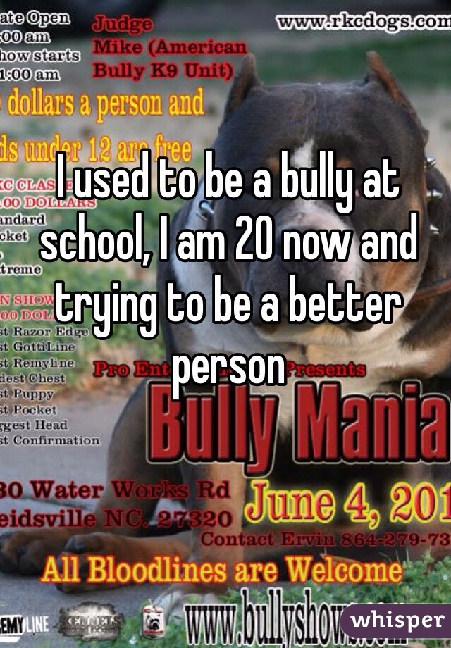 I used to be a bully at school, I am 20 now and trying to be a better person