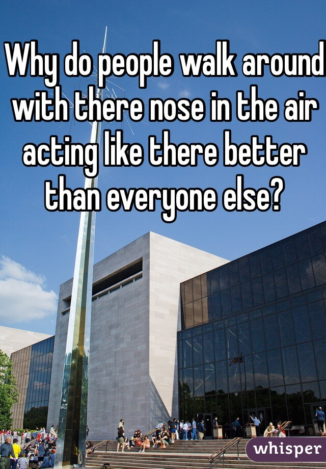 Why do people walk around with there nose in the air acting like there better than everyone else?