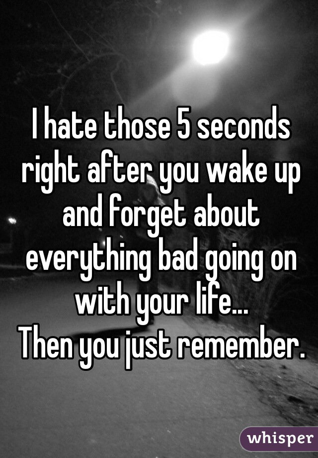 I hate those 5 seconds right after you wake up and forget about everything bad going on with your life...  Then you just remember.