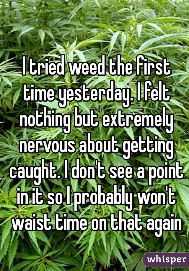 I tried weed the first time yesterday. I felt nothing but extremely nervous about getting caught. I don't see a point in it so I probably won't waist time on that again