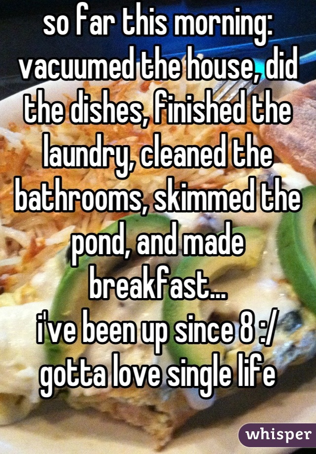 so far this morning: vacuumed the house, did the dishes, finished the laundry, cleaned the bathrooms, skimmed the pond, and made breakfast... i've been up since 8 :/ gotta love single life