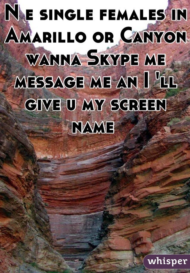 N e single females in Amarillo or Canyon wanna Skype me message me an I 'll give u my screen name