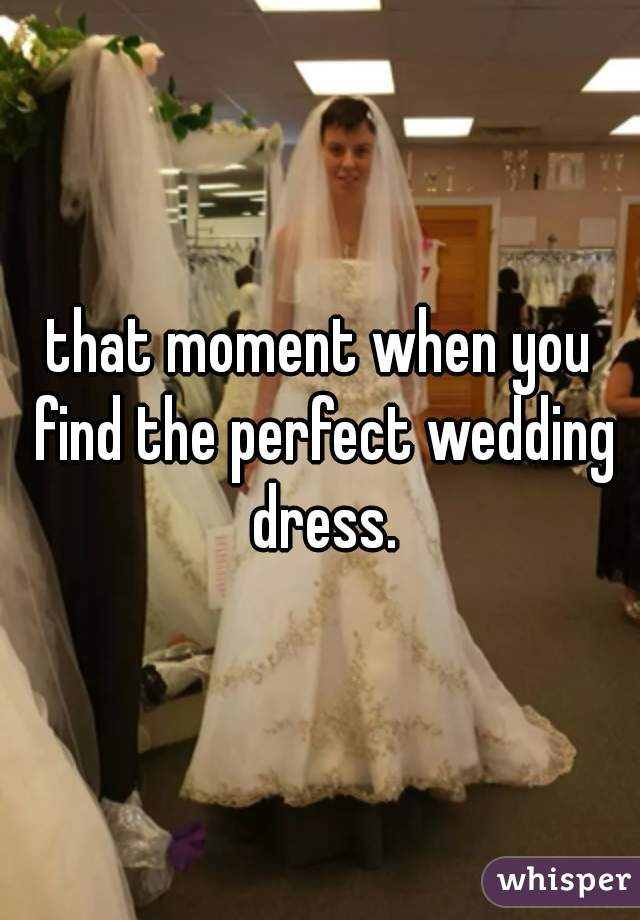 that moment when you find the perfect wedding dress.