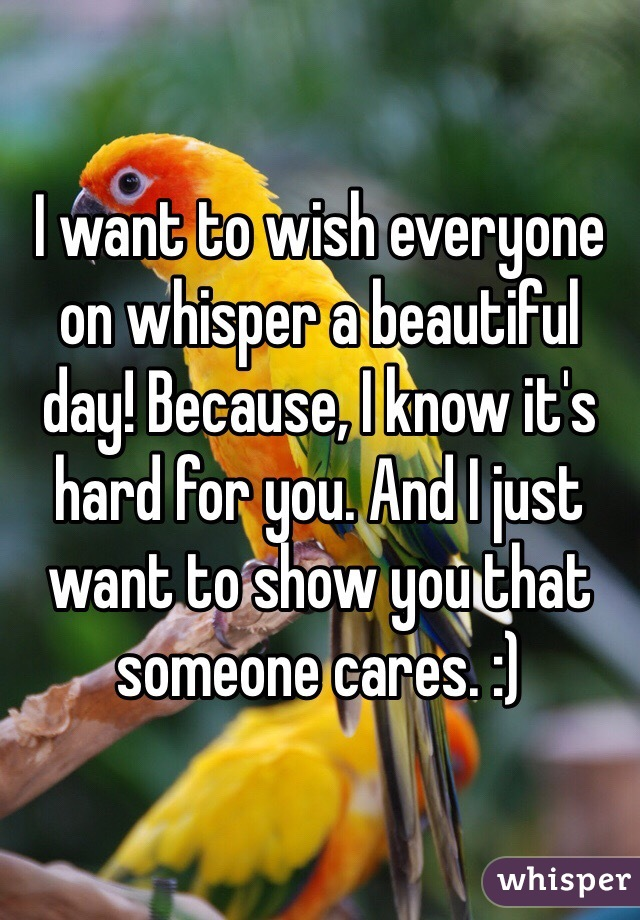 I want to wish everyone on whisper a beautiful day! Because, I know it's hard for you. And I just want to show you that someone cares. :)