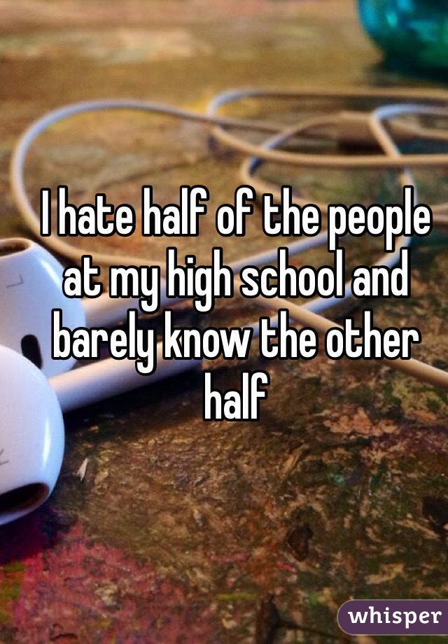 I hate half of the people at my high school and barely know the other half