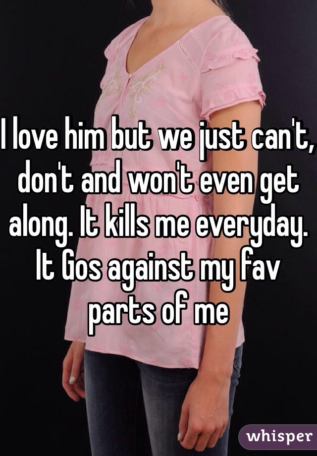 I love him but we just can't, don't and won't even get along. It kills me everyday. It Gos against my fav parts of me