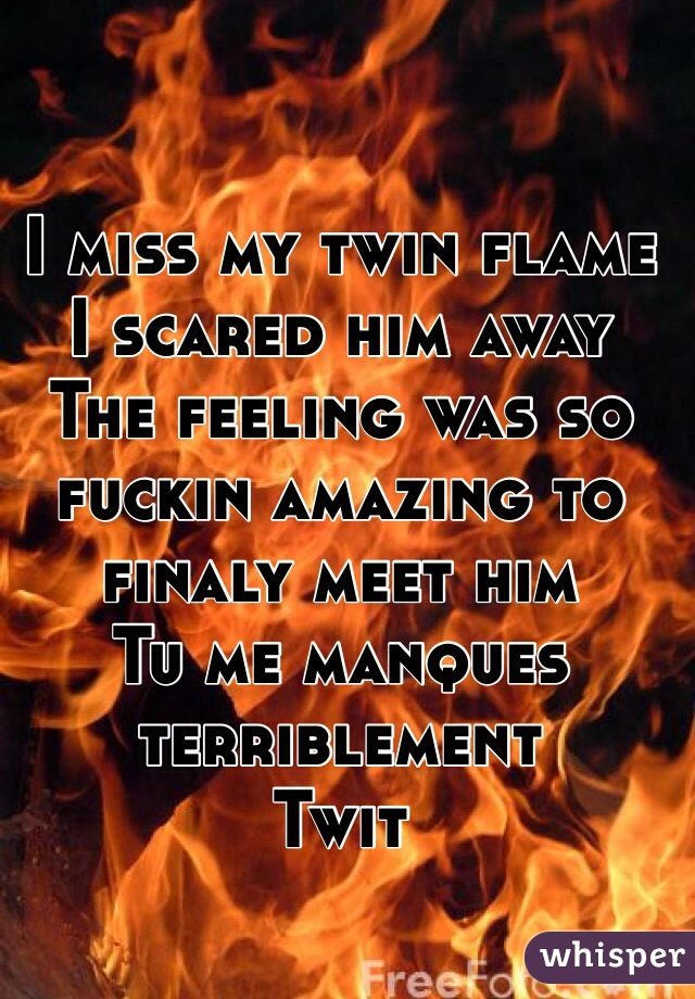 I miss my twin flame I scared him away The feeling was so