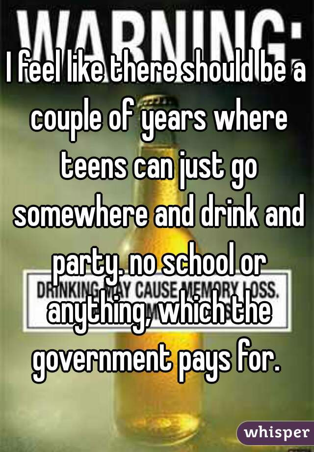 I feel like there should be a couple of years where teens can just go somewhere and drink and party. no school or anything, which the government pays for.