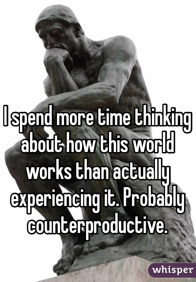 I spend more time thinking about how this world works than actually experiencing it. Probably counterproductive.