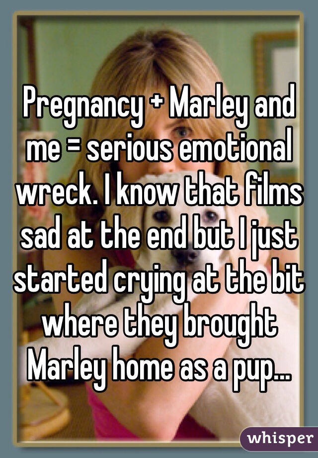 Pregnancy + Marley and me = serious emotional wreck. I know that films sad at the end but I just started crying at the bit where they brought Marley home as a pup...