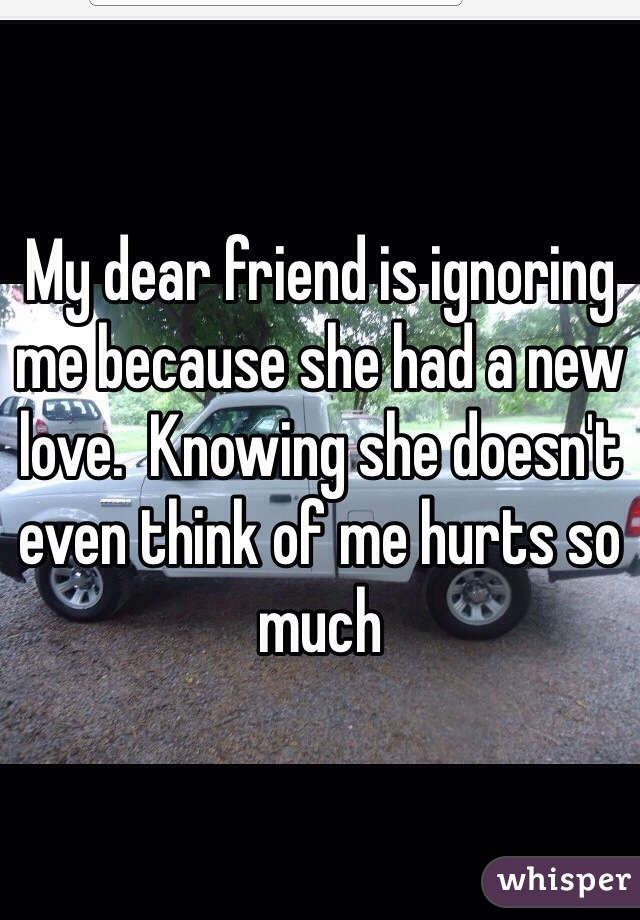 My dear friend is ignoring me because she had a new love.  Knowing she doesn't even think of me hurts so much