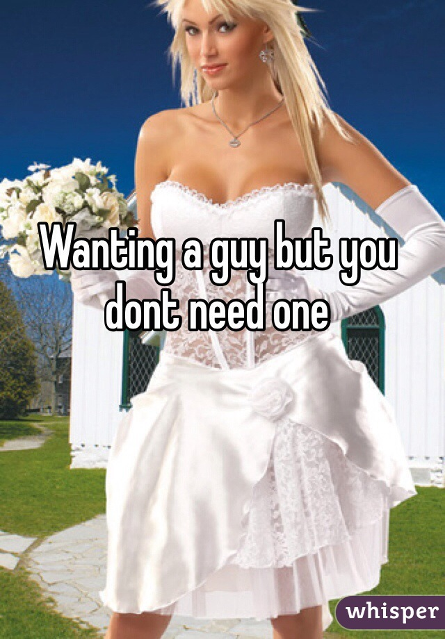 Wanting a guy but you dont need one