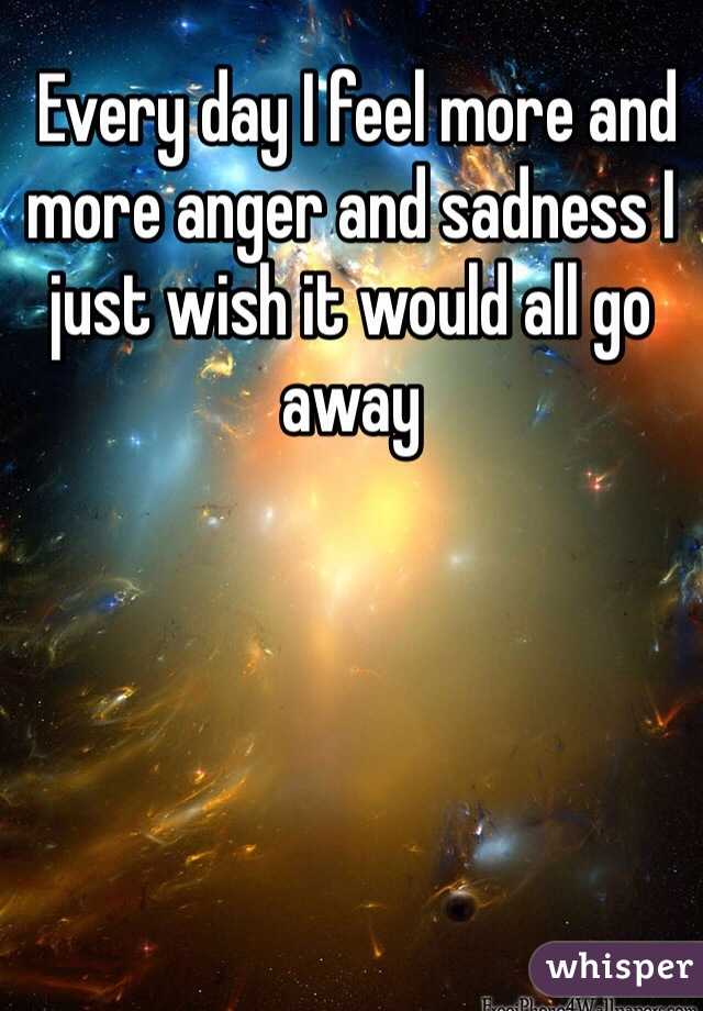 Every day I feel more and more anger and sadness I just wish it would all go away