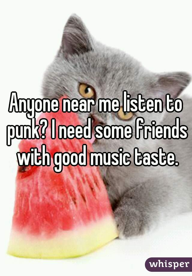 Anyone near me listen to punk? I need some friends with good music taste.