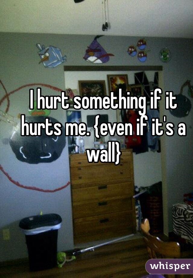 I hurt something if it hurts me. {even if it's a wall}