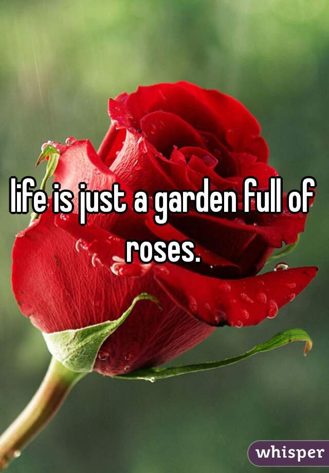 life is just a garden full of roses.
