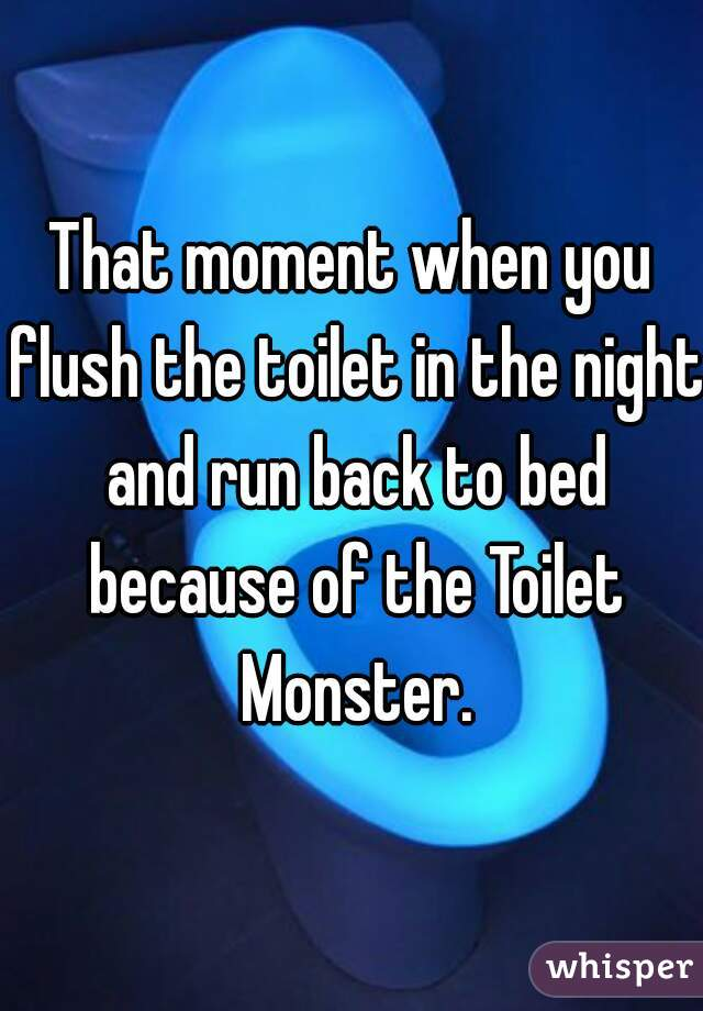That moment when you flush the toilet in the night and run back to bed because of the Toilet Monster.