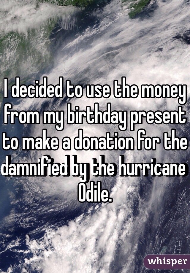 I decided to use the money from my birthday present to make a donation for the damnified by the hurricane Odile.