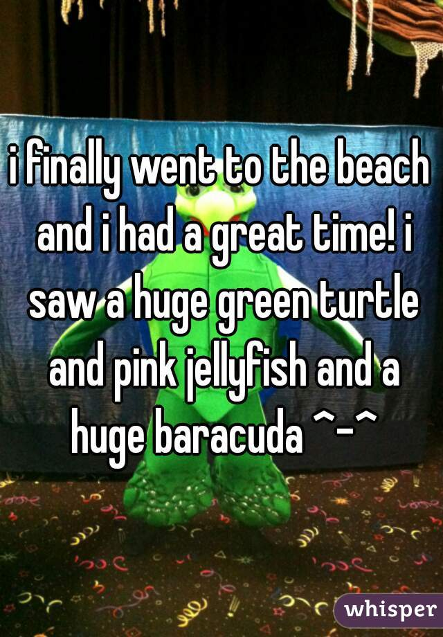 i finally went to the beach and i had a great time! i saw a huge green turtle and pink jellyfish and a huge baracuda ^-^