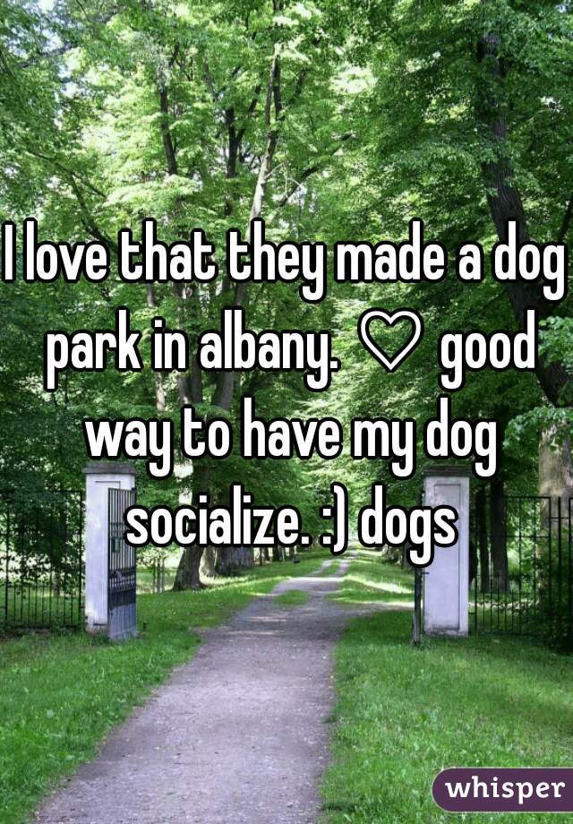 I love that they made a dog park in albany. ♡ good way to have my dog socialize. :) dogs