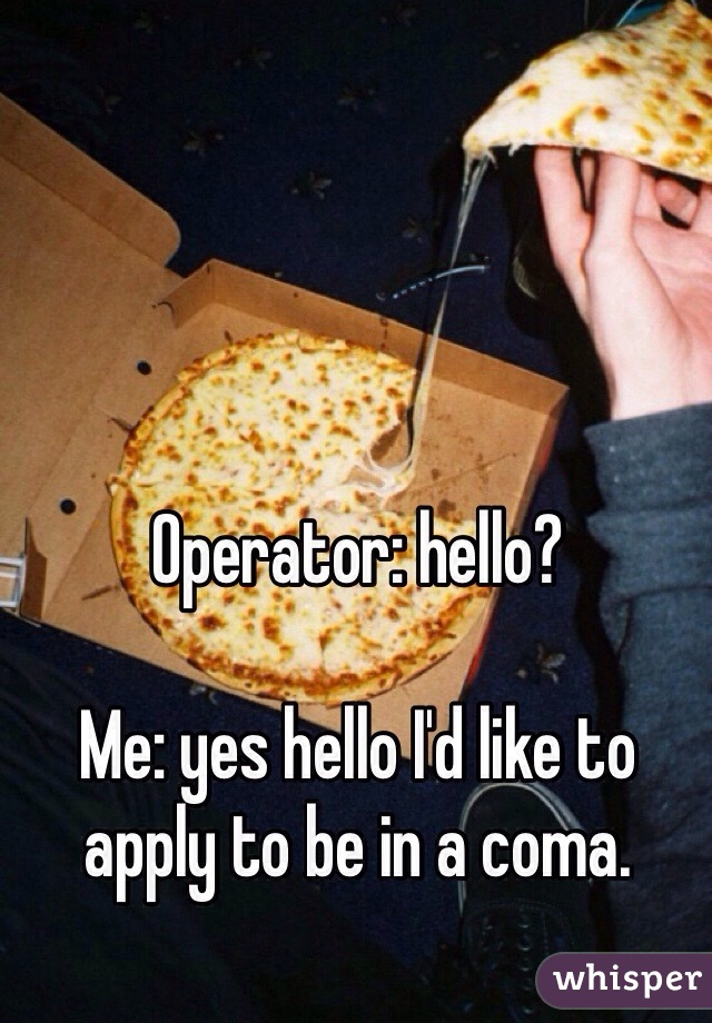 Operator: hello?  Me: yes hello I'd like to apply to be in a coma.