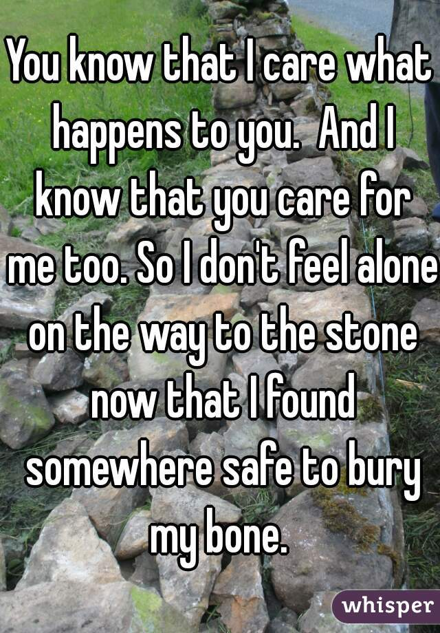 You know that I care what happens to you.  And I know that you care for me too. So I don't feel alone on the way to the stone now that I found somewhere safe to bury my bone.