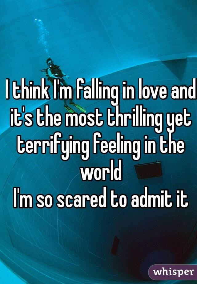 I think I'm falling in love and it's the most thrilling yet terrifying feeling in the world  I'm so scared to admit it