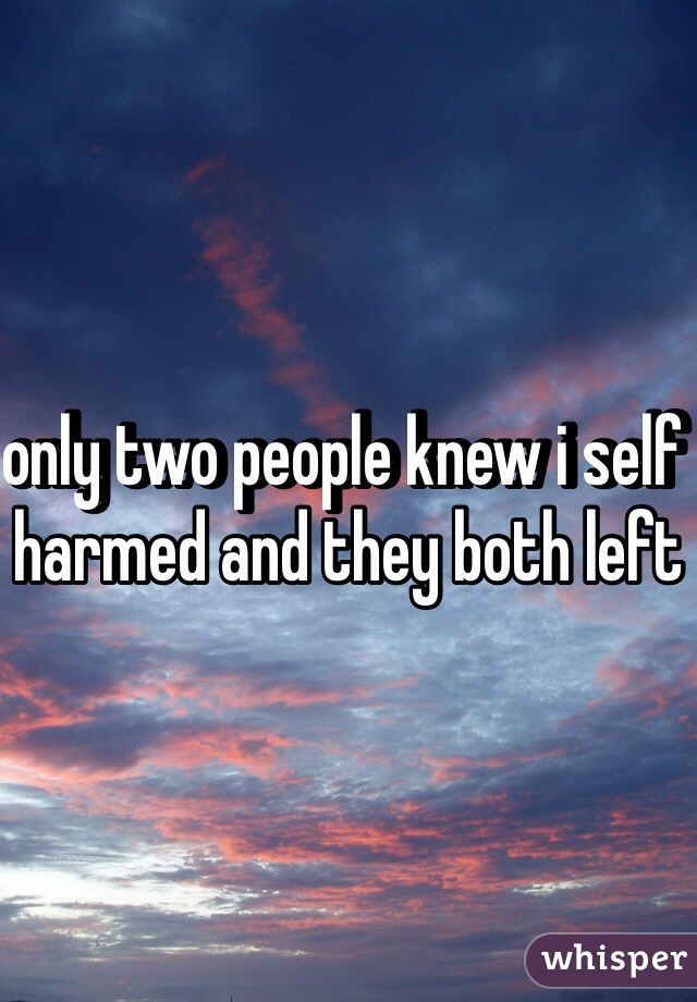 only two people knew i self harmed and they both left