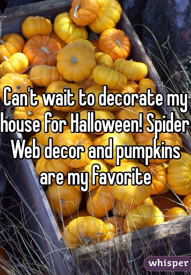 Can't wait to decorate my house for Halloween! Spider Web decor and pumpkins are my favorite