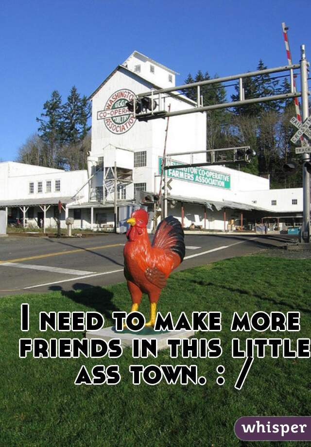 I need to make more friends in this little ass town. : /