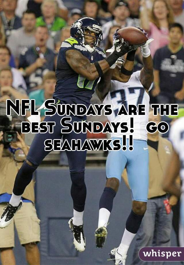 NFL Sundays are the best Sundays!  go seahawks!!