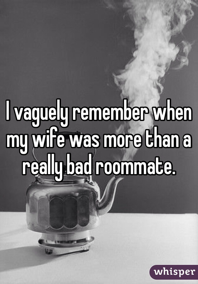 I vaguely remember when my wife was more than a really bad roommate.