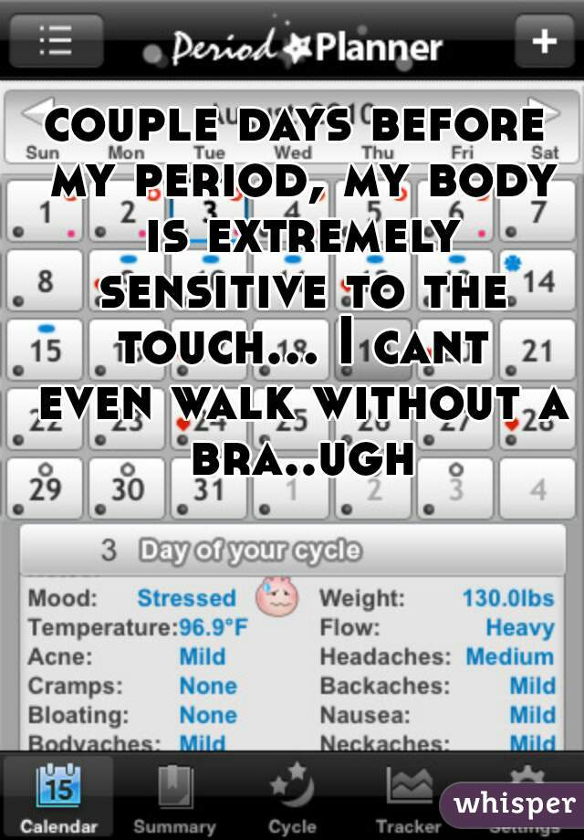 couple days before my period, my body is extremely sensitive to the touch... I cant even walk without a bra..ugh