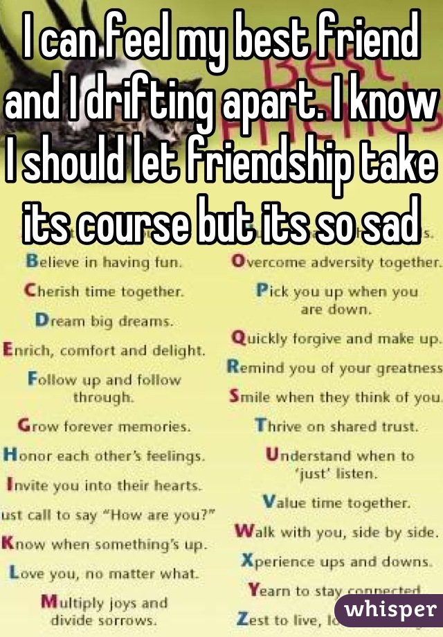 I can feel my best friend and I drifting apart. I know I should let friendship take its course but its so sad