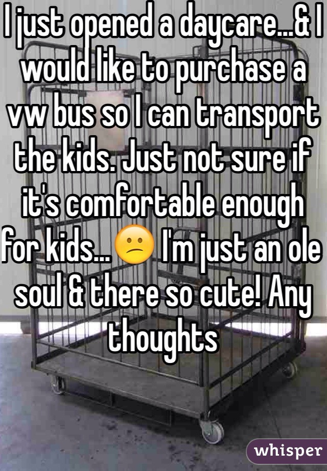 I just opened a daycare...& I would like to purchase a vw bus so I can transport the kids. Just not sure if it's comfortable enough for kids...😕 I'm just an ole soul & there so cute! Any thoughts